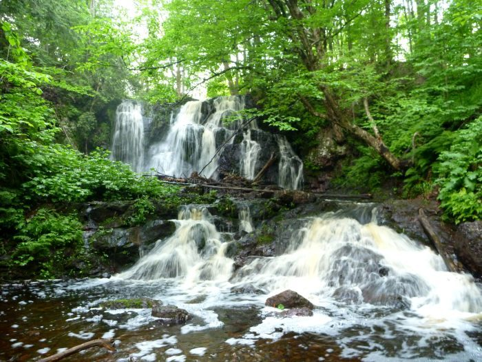 A waterfall in the forest cascades to a pool.