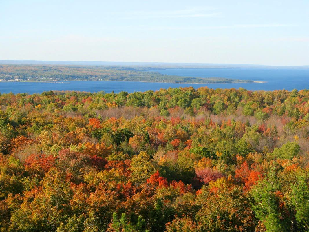 A view of a forest in the fall with Keweenaw Bay in the distance.